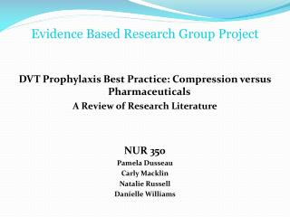 Evidence Based Research Group Project