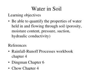 Water in Soil