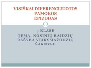 VISI�KAI DIFERENCIJUOTOS PAMOKOS EPIZODAS