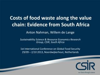 Costs of food waste along the value chain: Evidence from South Africa
