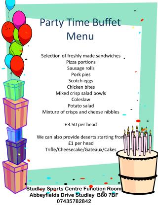 Party Time Buffet Menu