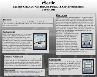 eSortie C2C Rob Cilla, C3C Nate Hart, Dr.  Pargas, Lt. Col Christman (Ret.) CSURF 2011