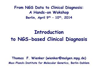 Introduction to  NGS- based  Clinical Diagnosis