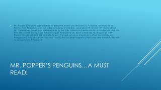 Mr. Popper's Penguins…a must read!