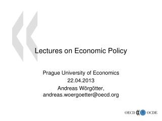 Lectures on Economic Policy