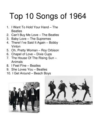 Top 10 Songs of 1964