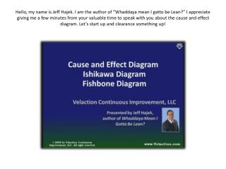 Cause and Effect Diagram Training Video aka Fishbone Diagram Ishikawa Diagram