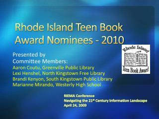 Rhode Island Teen Book Award Nominees - 2010