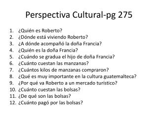 Perspectiva  Cultural- pg  275