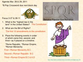 Agenda Mar.  28 & 29, 2011 * B.Pop  Crossword due next block day