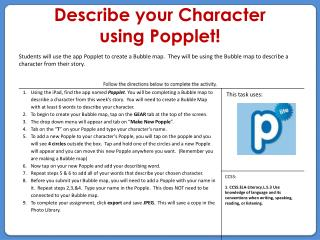 Describe your Character  using Popplet!