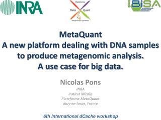 Nicolas Pons INRA Institut  Micalis Plateforme  MetaQuant Jouy-en-Josas, France