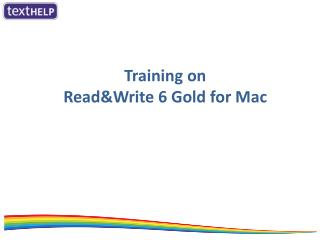 Training on Read&Write  6  Gold for Mac