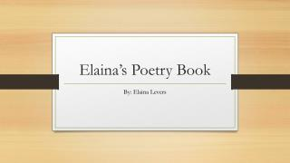 Elaina's Poetry Book