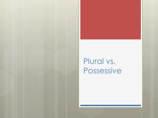 Plural vs. Possessive