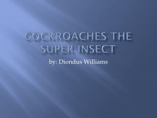 C ockroaches the super insect