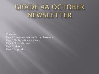 Grade 4A October Newsletter