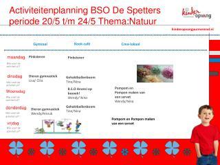 Activiteitenplanning BSO De Spetters periode 20/5 t/m  24 /5  Thema:Natuur