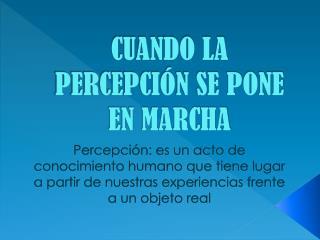 CUANDO LA PERCEPCIÓN SE PONE EN MARCHA