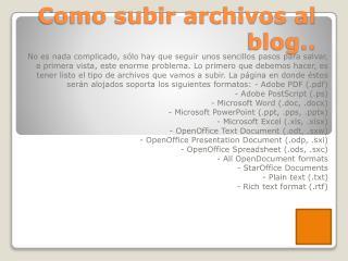 Como subir archivos al blog..