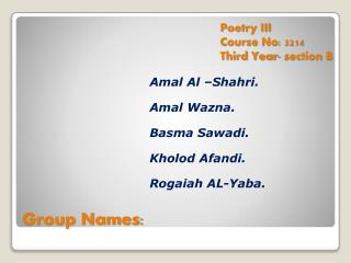 Group Names: