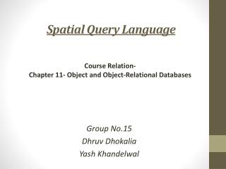 Spatial Query Language