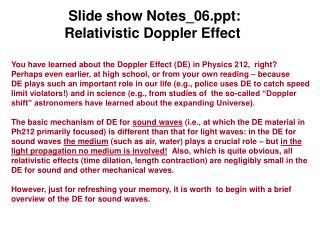 Slide show Notes_06: Relativistic Doppler Effect
