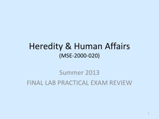 Heredity & Human  Affairs (MSE-2000-020)
