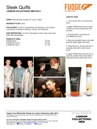 Fudge is the Official Hair Partner for London Collections: Men SS14