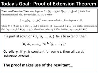 Today's Goal:  Proof of Extension Theorem