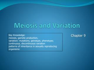Meiosis and Variation