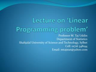 Lecture on 'Linear Programming problem'