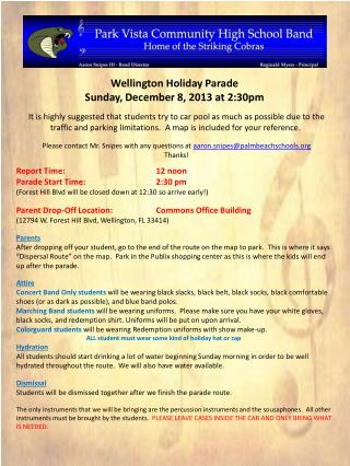 Wellington Holiday Parade Sunday ,  December 8, 2013  at  2:30pm