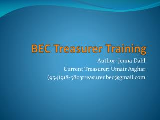 BEC Treasurer Training