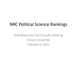 NRC Political Science Rankings