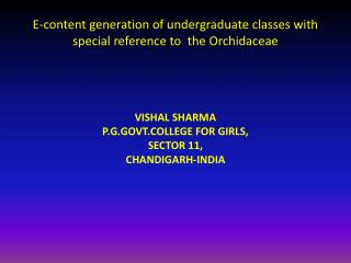 E-content generation of undergraduate classes with special reference to  the  Orchidaceae