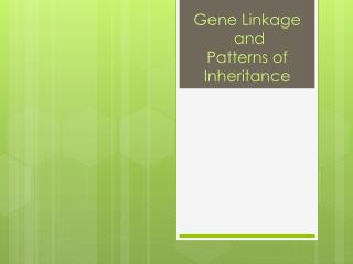 Gene Linkage  and  Patterns of Inheritance
