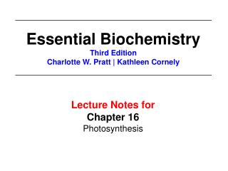 Lecture Notes for  Chapter 16 Photosynthesis