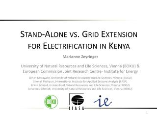 Stand-Alone vs. Grid Extension for Electrification in Kenya