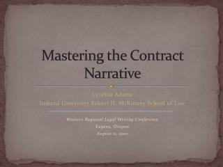 Mastering the Contract Narrative