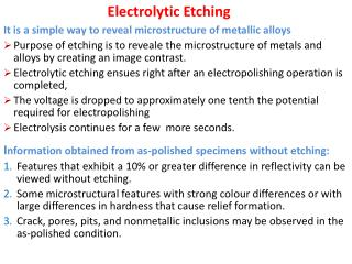 Electrolytic Etching