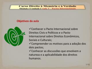 Curso Direito à Memória e à Verdade Módulo I Unidade I  Aula  3 – Pactos Internacionais