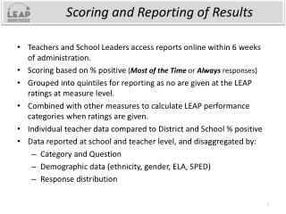 Scoring and Reporting of Results