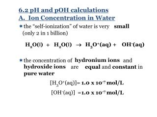 A.  Ion Concentration in Water