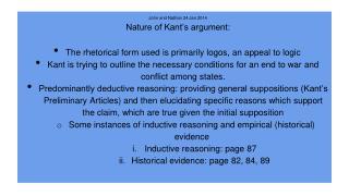 John and Nathan 24 Jan 2014 Nature of Kant's argument: