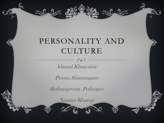 Personality and culture