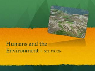 Humans and the Environment –  SOL WG 2b