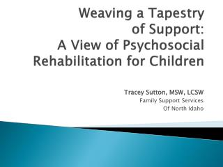 Weaving a Tapestry  of  Support:  A View of Psychosocial Rehabilitation for Children