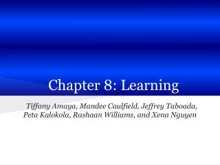 Chapter 8: Learning