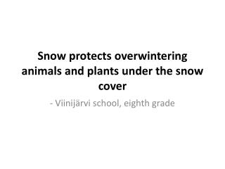 Snow protects overwintering animals and plants under the snow cover